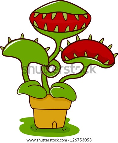 Freehand Drawn Texture Cartoon Monster Plant Stock ...