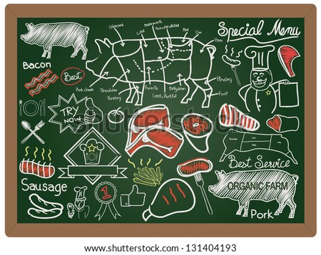 Illustration of a vintage graphic element food and menu collection on blackboard background vector