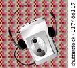Illustration of a walkman over a pixel art pattern - stock photo