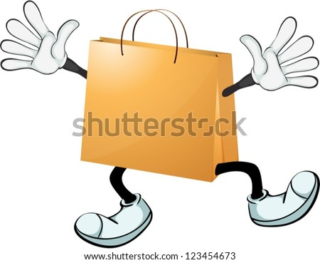 Illustration of a yellow bag on a white background