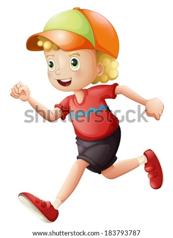 Illustration of a young kid running on a white background
