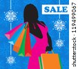 Illustration of a young woman shopping for Christmas - stock vector
