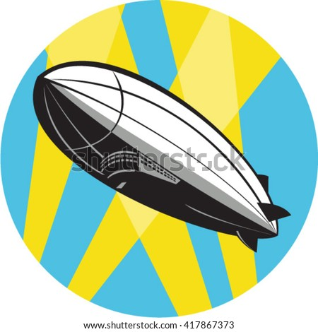 Illustration of a zeppelin blimp flying overhead set inside circle done in retro style.