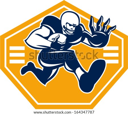 Illustration of an American football gridiron running back player running with ball facing front fending putting out a stiff arm set inside shield done in retro style.