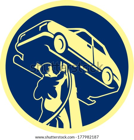 Illustration of an auto mechanic repairing automobile car vehicle set inside circle done in retro style.