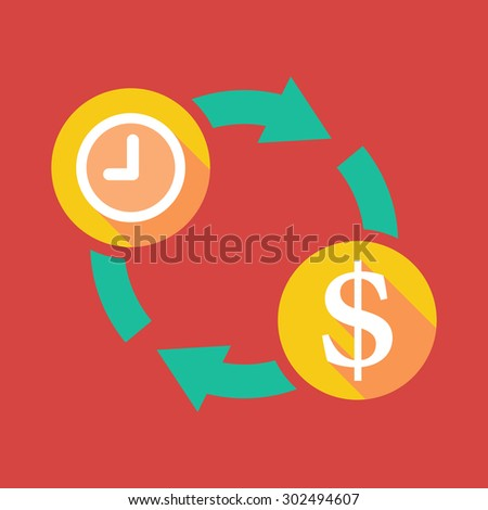 Illustration of an exchange sign with a clock and  a dollar sign
