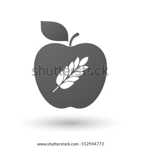 Illustration of an isolated apple fruit with  a wheat plant icon
