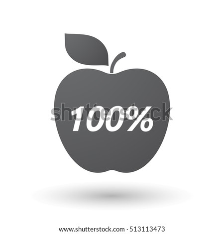 Illustration of an isolated fresh apple fruit icon with    the text 100%