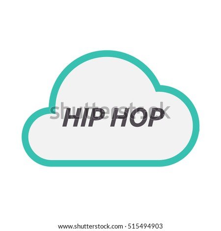 Illustration of an isolated line art cloud icon with    the text HIP HOP