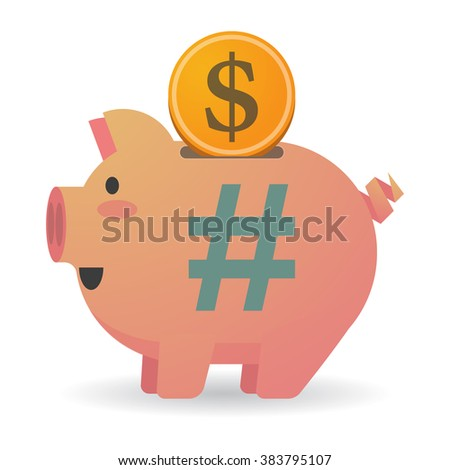 Illustration of an isolated piggy bank with a hash tag