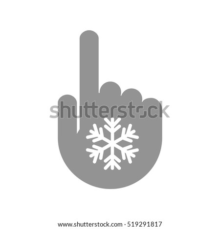 Illustration of an isolated pointing hand icon with a snow flake
