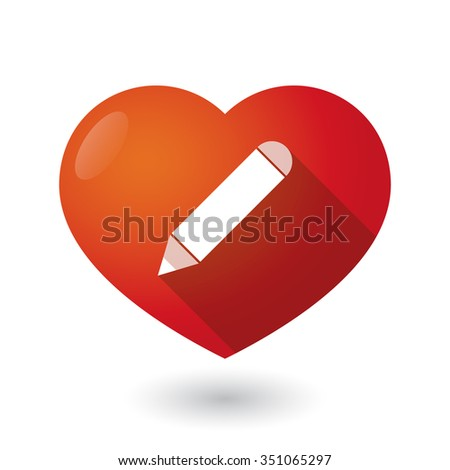 Illustration of an isolated red heart with a pencil