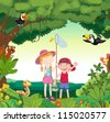 illustration of animals, birds and kids in a beautiful nature - stock photo