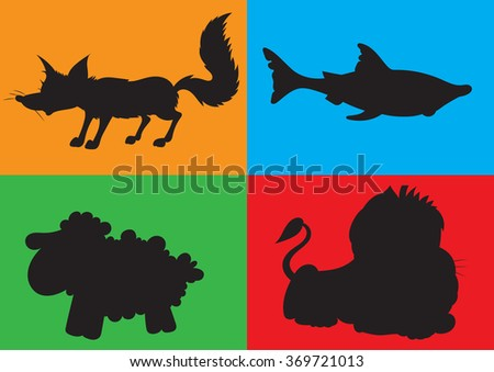 illustration of animation silhouette of animals for the children's book of riddles