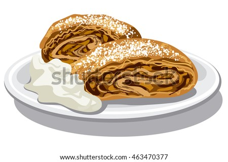 illustration of apple strudel with sour cream on plate