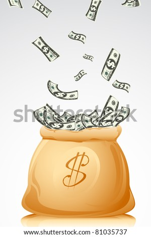 illustration of bag full of dollar note on abstract background
