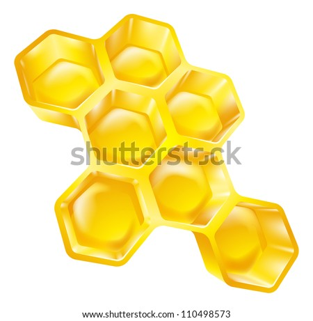 Illustration of bees wax honeycomb full of delicious honey
