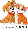 Illustration of best friends ever - Cat and Dog - stock vector