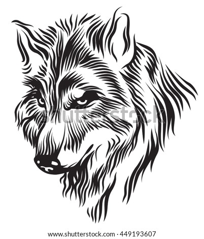 abstract vector illustration border collie head stock