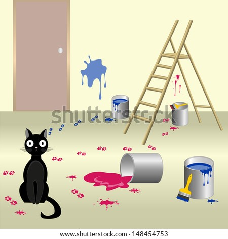 Dog Spilled Paint Leave Muddy Footprints Stock Vector