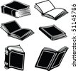 Illustration of books in black and white style - stock vector