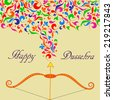 Illustration of Bow and Arrow with floral For Indian Festival Happy Dussehra - stock photo