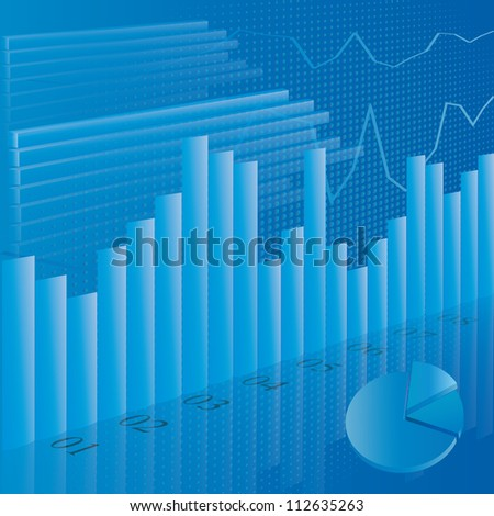 Illustration of business financial stats on blue background