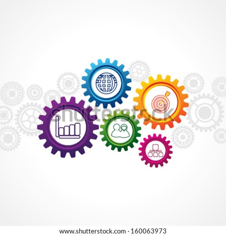 illustration of business icons in cog wheel