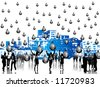 Illustration of business people, buildings and money - stock photo