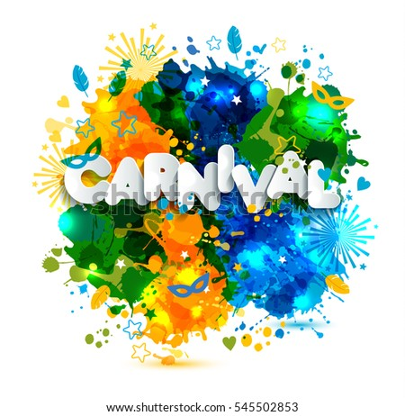 Illustration of Carnival from Brazil vacation on  watercolor stains,colors of the Brazilian flag, Brazil Carnival,watercolor paints. Summer, hand drawn ink color. Text of paper style.