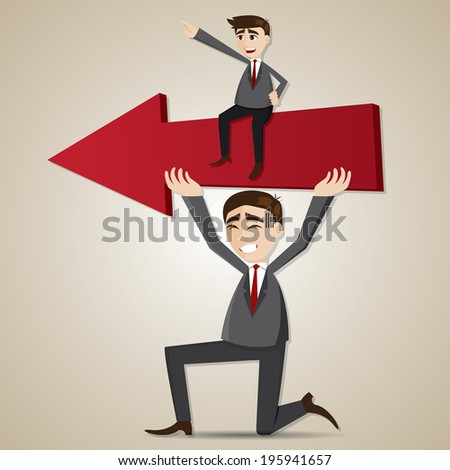 illustration of cartoon businessman carry red arrow with exploited teammate in teamwork concept