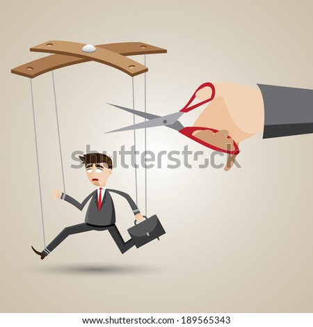 illustration of cartoon businessman in puppet style with scissors to cutting nylon.
