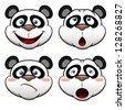 Illustration of Cartoon panda face - stock vector