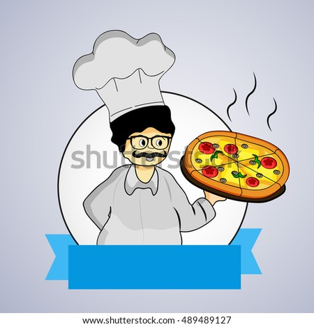 Illustration of chef with pizza