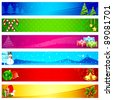 illustration of colorful christmas banner with different element - stock