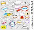 illustration of colorful comic speech bubble in vector - stock