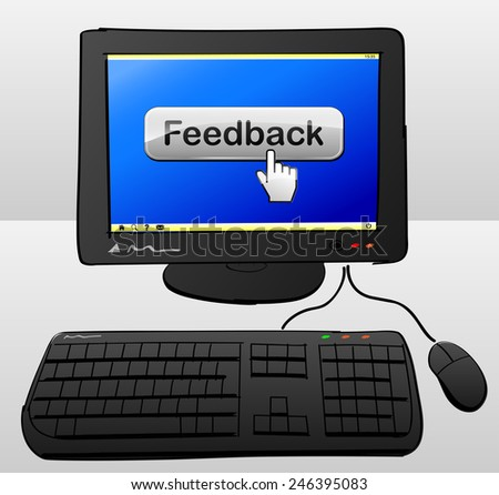 illustration of computer with feedback button on the screen