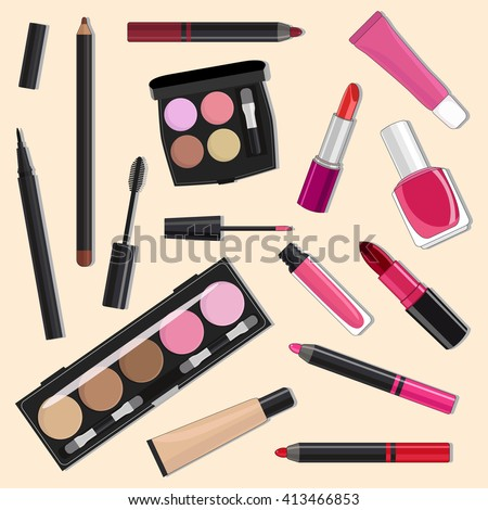 Illustration of cosmetic products.