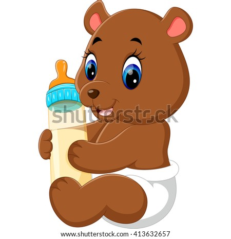 illustration of cute baby bear cartoon