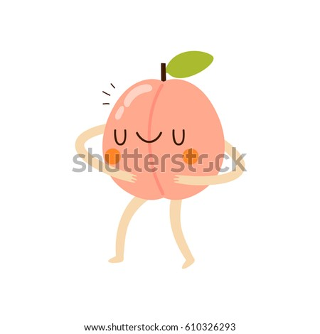 Funny Peach Illustration Cu...