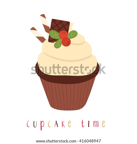 illustration of cute simple chocolate cupcake with cranberry and cupcake time text message. can be used like stickers or for greeting cards and party invitations