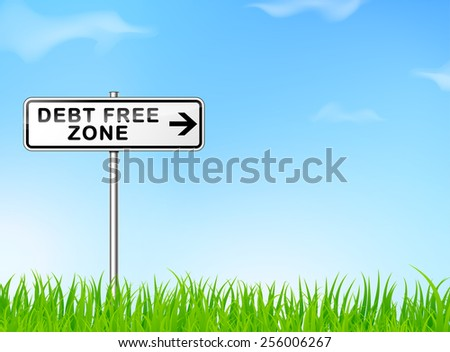 illustration of debt free zone sign on nature background