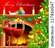 illustration of decorated Christmas tree with wine glass near fireplace - stock photo