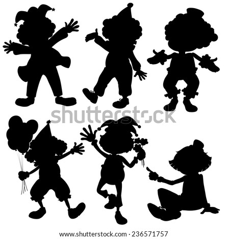 Illustration of different poses of silhouette clowns