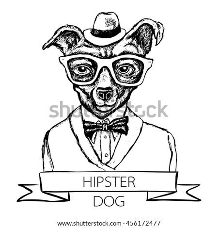 Illustration Of Dog Hipster With Tattoo Dressed Up In T Shirt Quote Vector Art