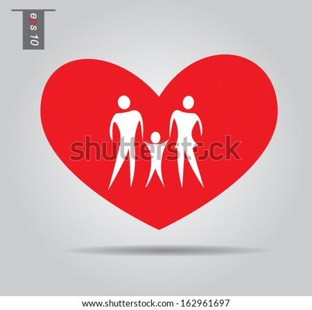 Illustration of family icons in heart, isolated on gray background vector