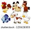 illustration of farm animals cartoon - stock vector