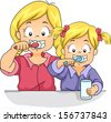 Illustration of Female Siblings Brushing Their Teeth Together - stock photo