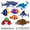 illustration of fish sea vector - stock photo