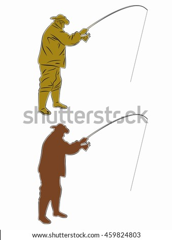 illustration of fisherman. color drawing, white background